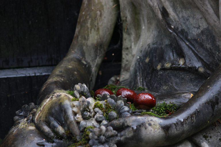 Offrande (marrons déposés par quelqu'un sur les genoux d'une statue de petite fille ornant une pierre tombale)