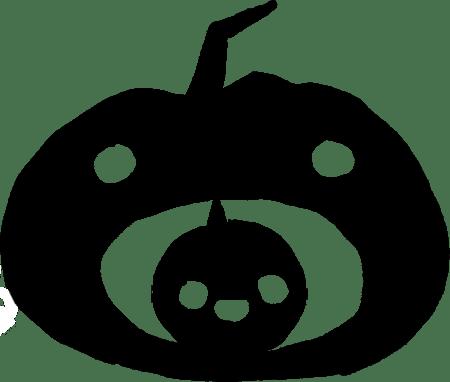 Citrouilles décoratives : petite citrouille dans la bouche d'une grande citrouille